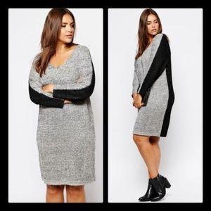 Carmakoma Size 20 22 Metallic V-Neck Sweater Dress